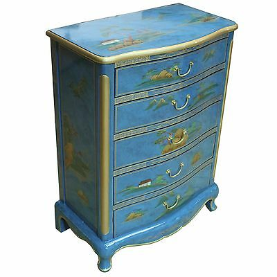 Mottled Blue Artistry Range Lacquer Chest of Drawers Chinese Oriental Furniture