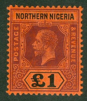 SG 52 Northern Nigeria £1 purple & black/red. A pristine lightly mounted mint...