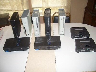 9 Video Game Consoles , N-64 , Ps2 , Xbox 360 Read All Mostly Untested