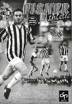 Football Programme FISHER ATHLETIC v MILLWALL July 2001 Friendly