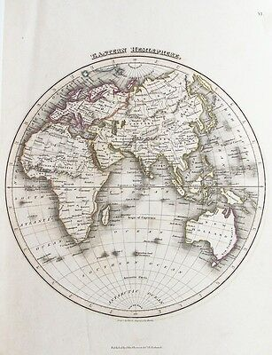 OLD ANTIQUE MAP  WORLD EASTERN HEMISPHERE c1820's by WYLD / HEWITT HAND COLOUR