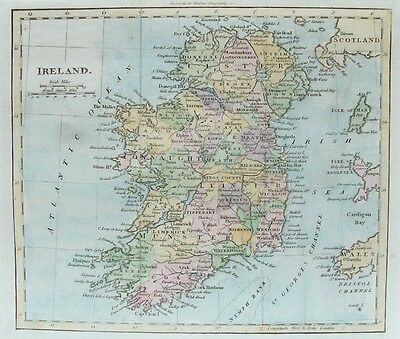 OLD ANTIQUE MAP IRELAND c1815 for WALKER LATER HAND COLOUR ENGRAVING