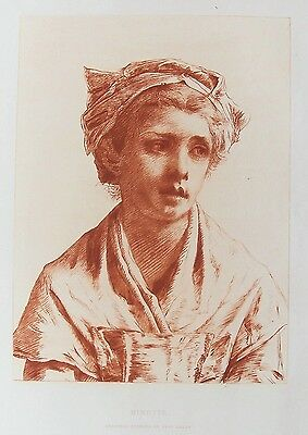 OLD ANTIQUE PRINT NINETTE by PAUL RAJON c1886 ORIGINAL ETCHING