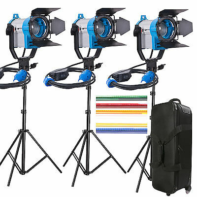 3 x 150W Fresnel Video Kunstlicht 450W SPOT LIGHT 3 set fliegen Fall Räder