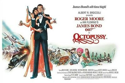 JAMES BOND ~ OCTOPUSSY BRITISH QUAD 24x36 MOVIE POSTER Roger Moore 007