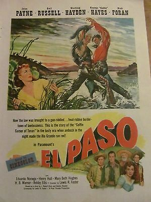 El Paso, John Payne, Gail Russell, Full Page Vintage Promotional Ad