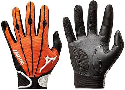1 Pair Mizuno 330286 Vintage Pro Medium Orange Adult Batting Gloves New!