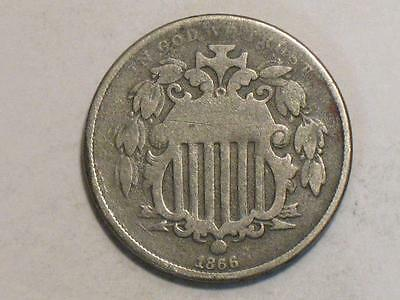 1866 SHIELD NICKEL w/ RAYS - OLD UNITED STATES COIN