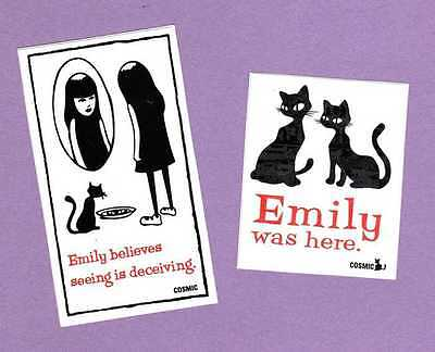 RARE Emily the Strange 2 Stickers Emily Was Here Seeing Is Deceiving Cats