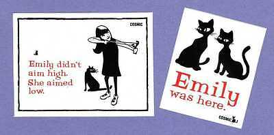 RARE Emily the Strange 2 Stickers Emily Didn't Aim High She Aimed Low Cats