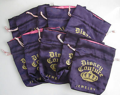 NEW! QTY 10 x DISNEY COUTURE Jewelry POUCHES Purple Satin Drawstring Bags RARE!