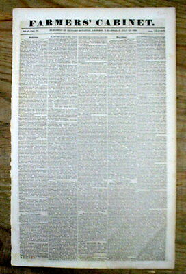 Orig 1836 newspaper TEXAS WAR of INDEPENDENCE w Earliest reference to TX COWBOYS