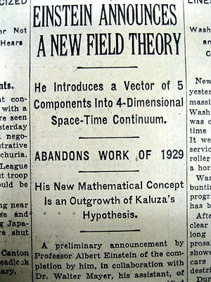 2 1931 newspapers ALBERT EINSTEIN presents his UNIFIED FIELD THEORY of UNIVERSE