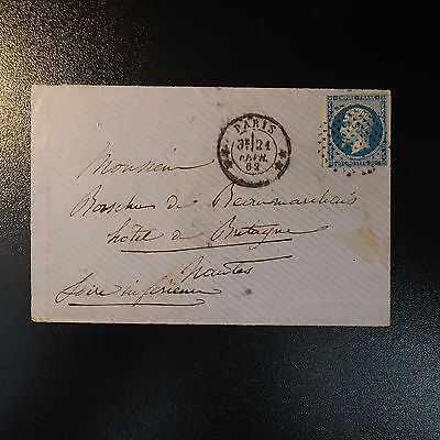 Napoléon N°14 Lettre Cover Cercle De Points + Cad Double Étoile De Paris