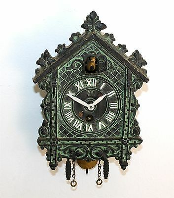 Lux Novelty Cuckoo Clock With Yellow Bobbing Bird - For Parts Or Repair  Rr83