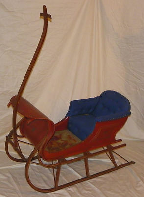 Antique Victorian Childs painted red Sleigh or sled