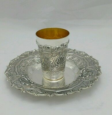 NEW Solid Silver Sterling 925 Kiddush Cup  Goblet Becher & tray Judaica Shabbat