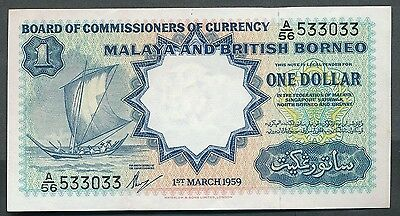 Malaya & British Borneo - 1959 Dollar. P.8a. Printer W&S. Lt folds. aUNC.