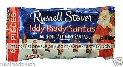 RUSSELL STOVER^ 1.7oz Bag IDDY BIDDY SANTAS Mini Chocolate Candy HOLIDAY Ex 4/17