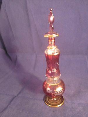 "Lovely 7"" Cranberry Perfume Bottle With Glass Dauber"