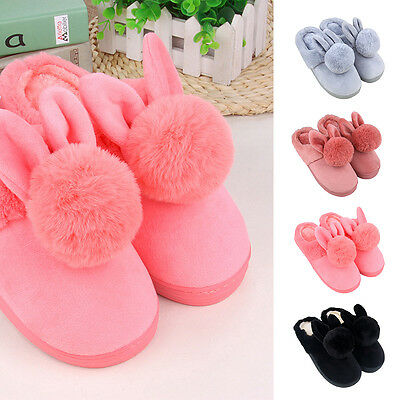 Cute Slip On Adult Size Fantasy Rabbit Plush Cotton Slippers Indoor Warm Shoes