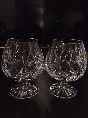 Tudor Beaufort Crystal Brandy Snifter Glasses Made in England Set 2 Signed Rare!