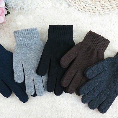 Casual Wool Knitted Warm Winter Men Full Finger Gloves Fashion Gloves Mittens