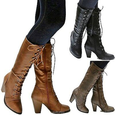 New Women FCa36 Black Tan Brown Combat Lace Up Riding Mid-Calf High Heel Boots