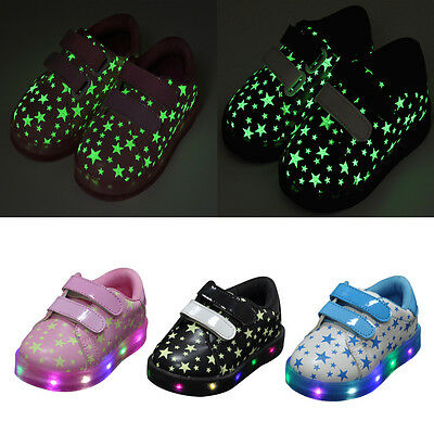 Led Kids Children Boys Girls Light Up Sneakers Luminous Star Shoes Trainers Size