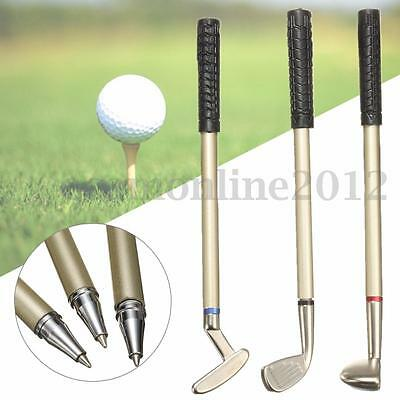 3Pcs Mini Golf Club Putter Ball Pen Ballpoint Golfers Gift Box Set Desktop Decor