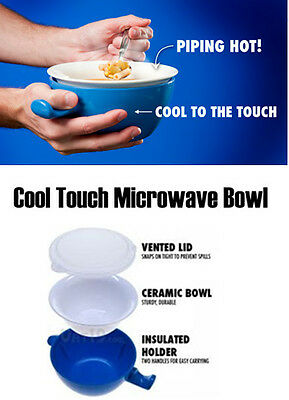 Ceramic Cool Touch Microwave Bowl & Lid Insulated Disability Aid Food Soup Meals