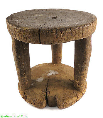 Stool Carved Wood 9 Inch Guinea African Art