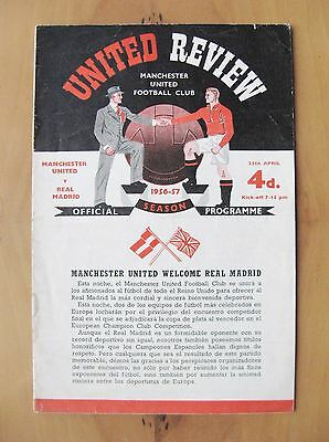 MANCHESTER UNITED v REAL MADRID European Cup Semi-Final 1956/1957 *VG Condition*