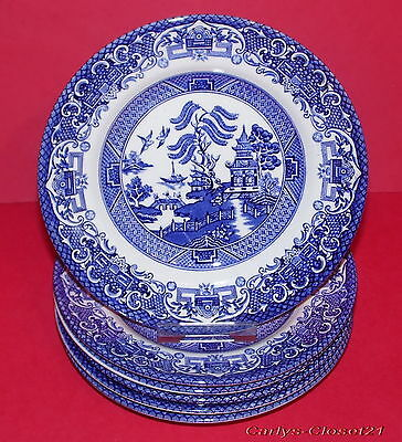 STAFFORDSHIRE * English Ironstone Tableware * 6 Old Willow Side Plates * c *