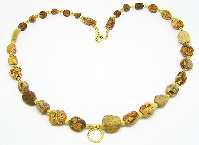 RARE Excavated Ancient Roman Amber & Gold Bead Necklace c. 2nd Century A.D.