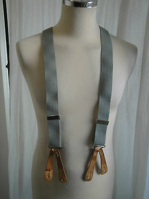 Vtg 40s style WW2 look grey cotton leather army braces suspenders