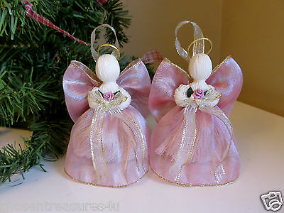 crafts 2 HANDMADE PINK WIRED RIBBON ANGELS 5 IN. XMAS VICTORIAN CHRISTIAN DECOR