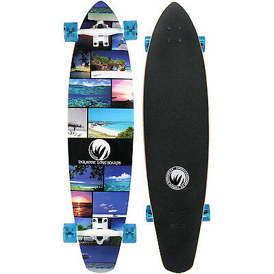 PARADISE Longboard Complete ISLAND LIFE Kicktail Cruiser Skateboard 9.5 x 40.25