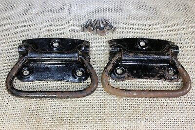 "2 old Tool Box drop Handles drawer Pulls vintage rustic black 3 1/4"" Stanley USA"