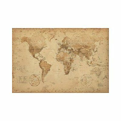 Antique Style World Map - World Map Poster
