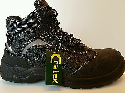 Mens New  Black Leather Hiker  Ankle Safety Boots  S3  Steel Toe Cap Size 14/48