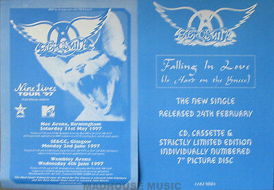AEROSMITH Nine Lives Tour UK Promo Only 2-Sided A5 Flyer New 1997 Mint