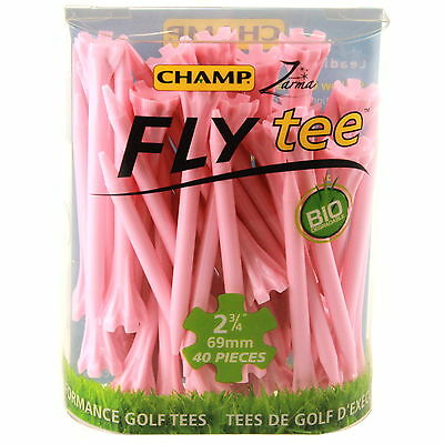 Champ Fly Tees 40 x 69mm Long Less Friction Crown Heads More Distance Pink New