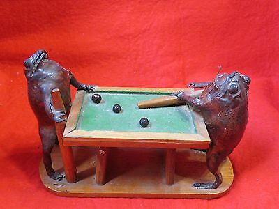 Unique vintage Taxidermy frogs playing pool real frog animals biology