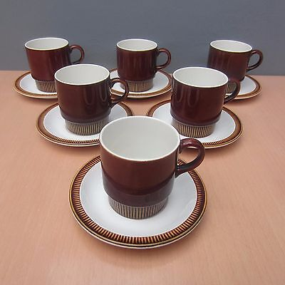 6 Retro Vintage Poole Pottery Chestnut Cups And Saucers