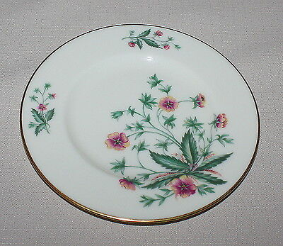 5 Lenox Country Garden Bread Plates Pink Flowers Ivory Gold