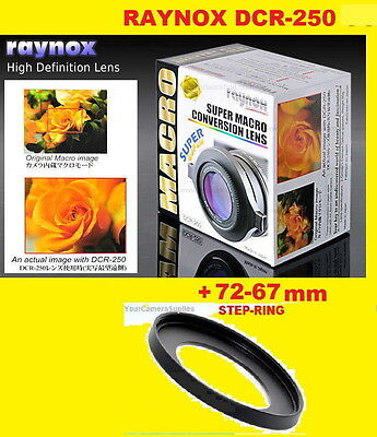 Raynox DCR-250 CLOSE UP MACRO LENS +step-ring-adapter 72-67 mm 72mm-67mm
