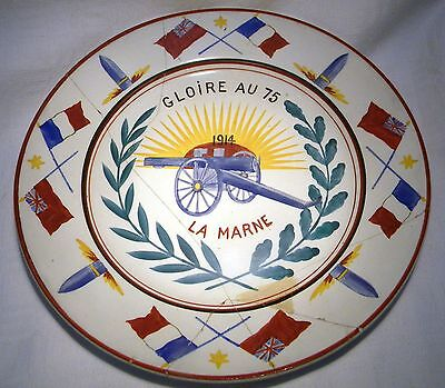 Choisy Le Roi  Ww1 Hand Painted Plate Battle Of Marne 1914 French 75 Field Gun