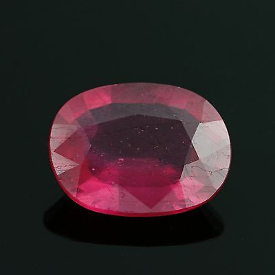 4.09ct Loose Lead Glass Filled Ruby Gemstone - Red Oval Solitaire