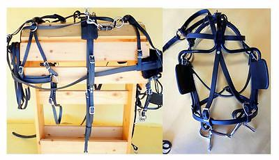 US Made Prem Showman Synthetic SMALL PONY Starter Training Driving Harness Black